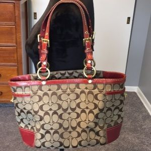 Coach Bags - COACH GALLERY RED LEATHER LRG ZIP TOP TOTE